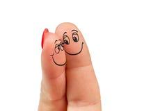 Pares no amor com smiley pintado Foto de Stock Royalty Free