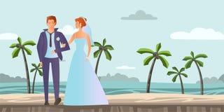 Pares no amor Homem novo e mulher no casamento em uma praia tropical com palmeiras Ilustração do vetor ilustração royalty free
