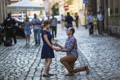 Pares no amor na rua O homem em seus joelhos dá a uma mulher uma flor, faz uma oferta Fotos de Stock
