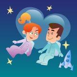 Pares no amor no espaço Imagens de Stock
