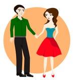 Pares no amor, unidas mantendo as mãos, ilustração do vetor Fotos de Stock Royalty Free