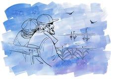 Pares no cais Ilustração gráfica da tinta com fundo da aquarela ilustração do vetor