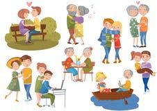 Pares no grupo do amor, amantes românticos diferentes que abraçam, dança, andando junto ilustrações do vetor dos desenhos animado ilustração royalty free