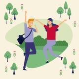 Pares no parque ilustração royalty free