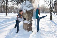Pares no parque do inverno Fotos de Stock Royalty Free