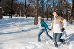Pares no parque do inverno fotografia de stock royalty free
