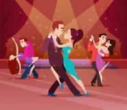 Pares no salão de baile Dança dos personagens de banda desenhada ilustração royalty free