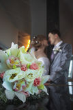 Pares novo-casados felizes Foto de Stock Royalty Free