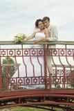 pares Novo-casados na ponte Imagem de Stock