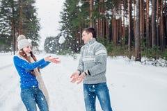 Pares novos alegres que têm o divertimento no parque do inverno fotografia de stock royalty free
