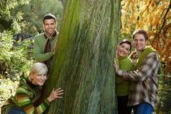 Pares novos ao ar livre no outono Fotos de Stock Royalty Free