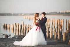 Pares novos bonitos do casamento, noivos que levantam perto dos polos de madeira no mar do fundo fotos de stock royalty free