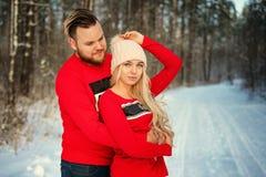 Pares novos bonitos no inverno nas madeiras, abraço, romance feliz imagens de stock royalty free