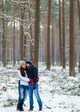 Pares novos bonitos que andam no inverno nevado Forest Embrace foto de stock royalty free