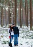 Pares novos bonitos que andam no inverno nevado Forest Embrace fotografia de stock