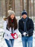 Pares novos bonitos que andam no inverno nevado Forest Embrace imagens de stock