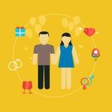 Pares novos, conceito com ícones, planeamento familiar do casamento Imagens de Stock Royalty Free