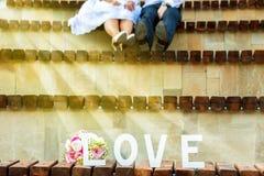 Pares novos do casamento no verão Fotos de Stock