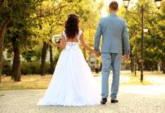 Pares novos do casamento que guardam as mãos ao andar no parque fotografia de stock