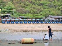 Pares novos e muitas cadeiras de praia na praia Imagem de Stock