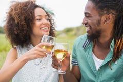 Pares novos em um vinho bebendo do piquenique foto de stock
