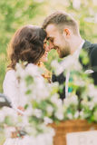 Pares novos felizes do recém-casado no parque Adolescentes românticos que tocam pelas testas Imagem de Stock