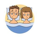 Pares novos felizes na cama Ícone do projeto dos desenhos animados Ilustração lisa do vetor Isolado no fundo branco ilustração stock
