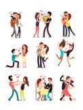 Pares novos felizes no amor, personagens de banda desenhada do Valentim do vetor ilustração royalty free
