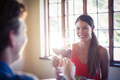 Pares novos felizes que brindam o vidro de vinho ao ter o almoço Fotos de Stock