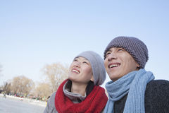 Pares novos fora no inverno, Pequim Fotos de Stock Royalty Free