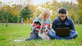 Pares novos inter-raciais que descansam em um parque com um cão O homem asiático usa o portátil, uma mulher aprecia a tabuleta filme