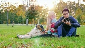 Pares novos inter-raciais que descansam em um parque com um cão O homem asiático usa a tabuleta, uma mulher que afaga um cão filme