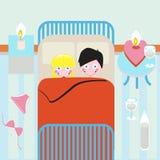 Pares novos na cama Ilustração do Vetor