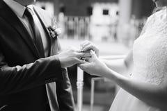 Pares novos nas alianças de casamento 1 do ouro da troca dos recém-casados do amor fotografia de stock royalty free