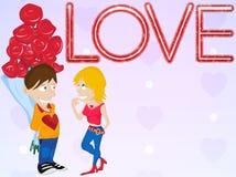 Pares novos no amor. Cartão do dia do Valentim feliz. ilustração do vetor