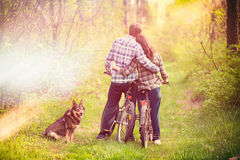 Pares novos no amor na floresta Fotos de Stock Royalty Free