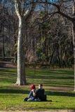 Pares novos no amor na grama em um parque exterior imagens de stock