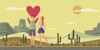 Pares novos no amor O homem e a mulher em uma data romântica no deserto ajardinam Ilustração do vetor Imagens de Stock