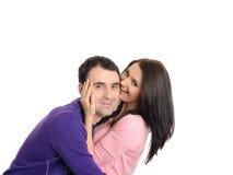 Pares novos no amor que tem o divertimento. isolado Fotografia de Stock Royalty Free