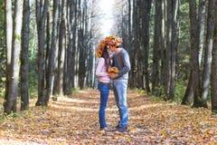 Pares novos no parque do outono imagem de stock royalty free