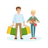 Pares novos que andam com a alameda, as compras e as aquisições dos planos ilustração royalty free