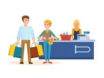 Pares novos que andam com a alameda, as compras e as aquisições dos planos ilustração stock