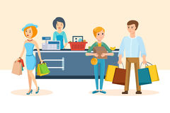 Pares novos que andam com a alameda, as compras e as aquisições dos planos ilustração do vetor