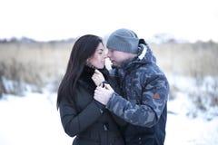 Pares novos que beijam fora, afagando no parque do inverno Famílias do amor imagens de stock royalty free