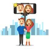 Pares novos que fazem o autorretrato usando a vara do selfie Vetor Imagem de Stock Royalty Free