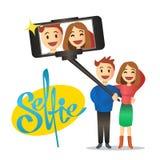 Pares novos que fazem o autorretrato usando a vara do selfie Vetor Imagens de Stock Royalty Free