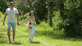 Pares novos que têm o divertimento no campo verde na primavera ou no verão, plano geral vídeos de arquivo