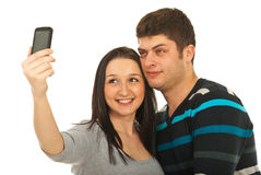 Pares novos que tomam a foto Imagens de Stock