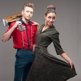 Pares novos retros de dança Fotografia de Stock