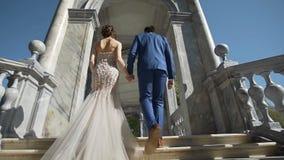 Pares novos românticos que andam longe da câmera ao arco bonito video estoque